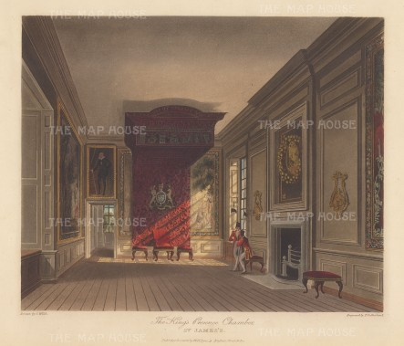 King's Presence Chamber with two guardsmen by the window.
