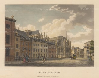 "Malton: Old Palace Yard, Whitehall. 1792. A hand coloured original antique aquatint. 14"" x 11"". [LDNp3305]"