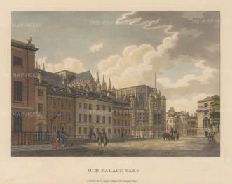 "Malton: Old Palace Yard, Whitehall. 1792. A hand coloured original antique aquatint. 14"" x 11"". [LDNp3305]"