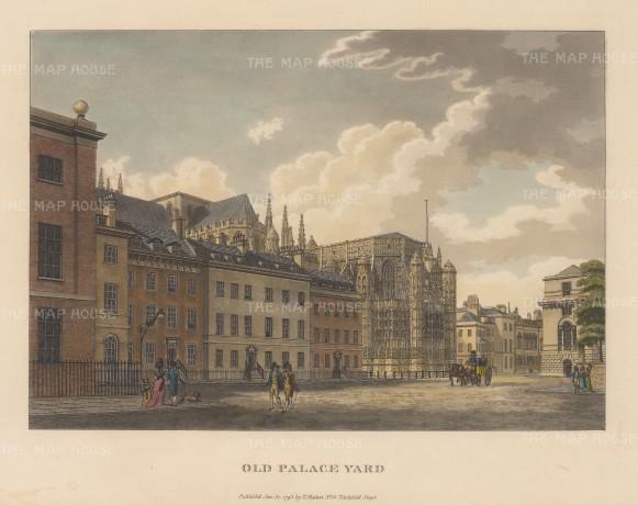 "Malton: Old Palace Yard, Westminster. 1792. A hand coloured original antique aquatint. 14"" x 11"". [LDNp3305]"