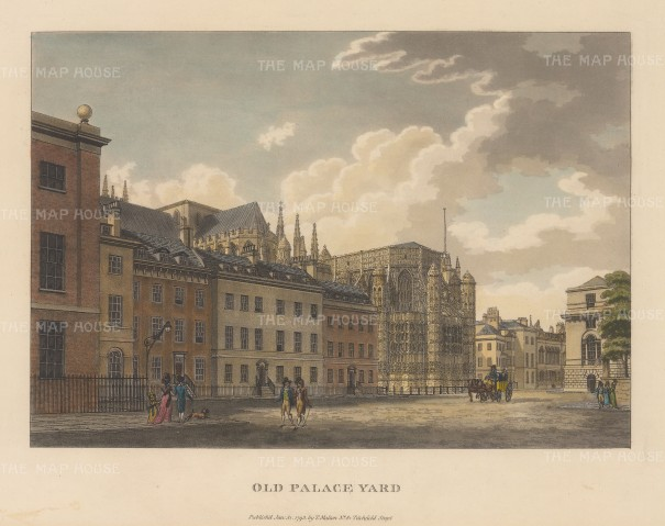 "Malton: Old Palace Yard, Westminster. 1792. A hand coloured original antique aquatint. 14"" x 11"". [LDNp3305]"