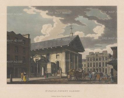 "Malton: St. Paul's Church, Covent Garden. 1796. A hand coloured original antique aquatint. 14"" x 11"". [LDNp3306]"
