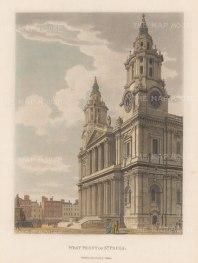 "Malton: St. Paul's Cathedral. 1792. A hand coloured original antique aquatint. 11"" x 14"". [LDNp3308]"