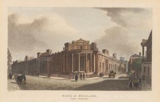"Papworth: Bank of England. 1816. An original colour antique aquatint. 8"" x 6"". [LDNp4686]"