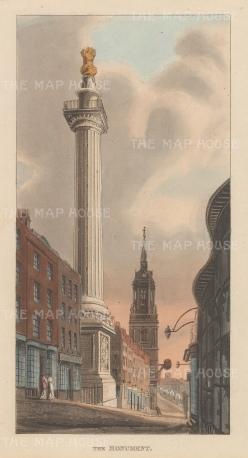 "Papworth: Monument. 1816. An original colour antique aquatint. 5"" x 9"". [LDNp4700]"