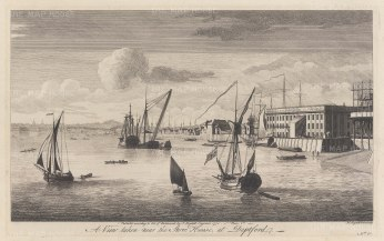 "Boydell: Deptford. 1750. An original antique copper engraving. 17"" x 11"". [LDNp6196]"