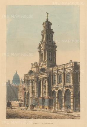 """Papworth: Royal Exchange. 1816. An original colour antique aquatint. 6"""" x 8"""". [LDNp6221]"""