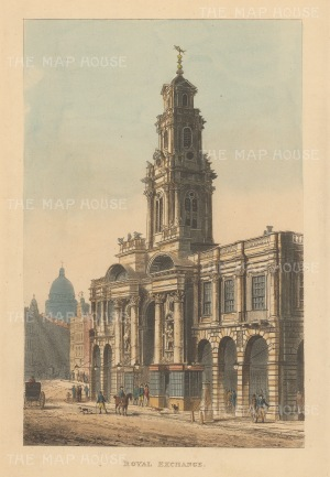 "Papworth: Royal Exchange. 1816. An original colour antique aquatint. 6"" x 8"". [LDNp6221]"