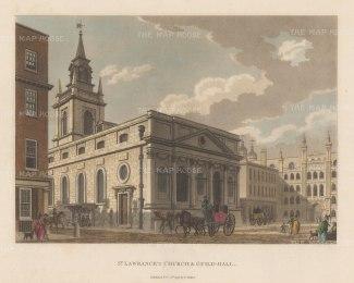 "Malton: St. Lawrence's Church, Guildhall. 1798. A hand coloured original antique aquatint. 14"" x 11"". [LDNp6491]"