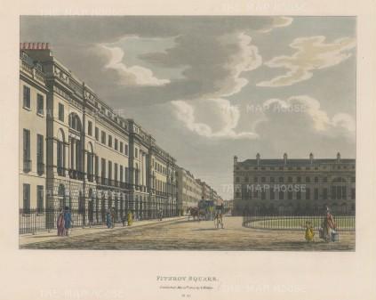 """Malton: Fitzroy Square. 1800. A hand coloured original antique aquatint. 14"""" x 11"""". [LDNp6492]"""