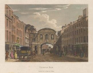 """Malton: Temple Bar. 1796. A hand coloured original antique aquatint. 14"""" x 11"""". [LDNp6500]"""