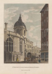 "Malton: St. Bennet's Fink, Threadneedle Street. 1797. A hand coloured original antique aquatint. 11"" x 14"". [LDNp6502]"