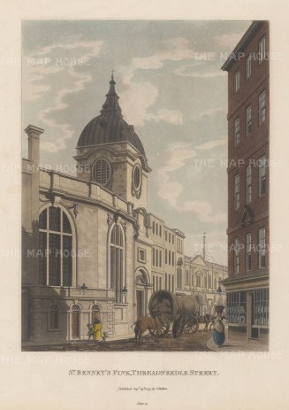 """Malton: St. Bennet's Fink, Threadneedle Street. 1797. A hand coloured original antique aquatint. 11"""" x 14"""". [LDNp6502]"""