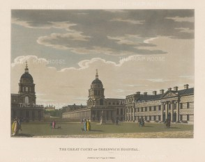 "Malton: Greenwich Hospital. 1799. A hand coloured original antique aquatint. 14"" x 11"". [LDNp6504]"