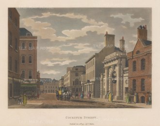 "Malton: Cockspur Street. 1797. A hand coloured original antique aquatint. 14"" x 11"". [LDNp6508]"