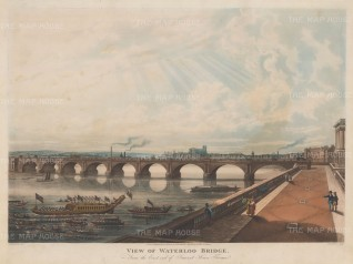 Waterloo Bridge: From the east end of Somerset Terrace with the Lord Mayor's Barge and Westminster in he distance.