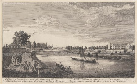 Isleworth: Syon House. View from the Thames of the London residence of the Dukes of Northumberland.