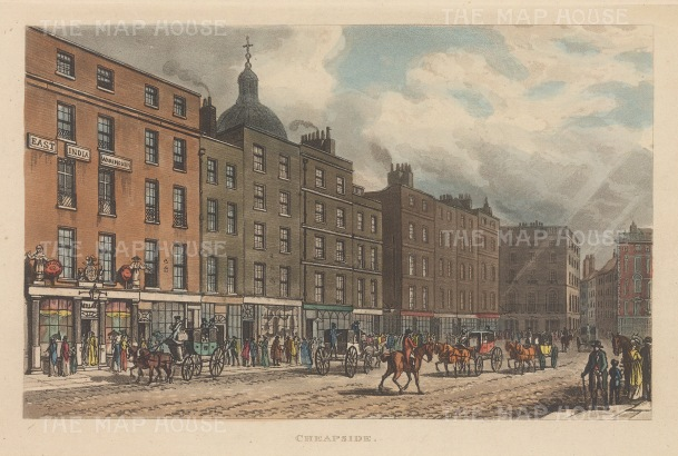 "Papworth: Cheapside. 1816. An original colour antique aquatint. 8"" x 6"". [LDNp6685]"