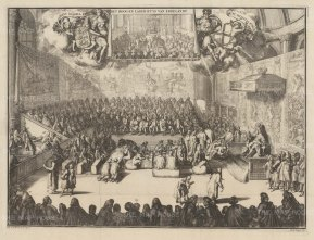 PAIR Upper and Lower House of England: William III presides in the House Commons, with a smaller sketch of the House of Lords above. On the walls hang the famous Hendrick Vroom Arrmada Tapestries commissioned by Lord Admiral Howard. They were destroyed in the fire of 1834.