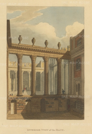 "Papworth: Bank of England. 1816. An original colour antique aquatint. 6"" x 8"". [LDNp6929]"