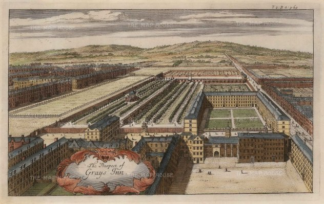 Gray's Inn: Aerial view of one of the four Inns of Court which evolved in the late 14th century, and is named for Baron Gray of Wilton on whose land the Inn was built.