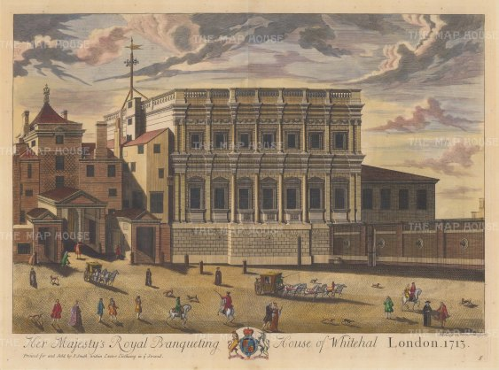 "Smith: Banqueting House. 1724. A hand coloured original antique copper engraving. 23"" x 19"". [LDNp8234]"