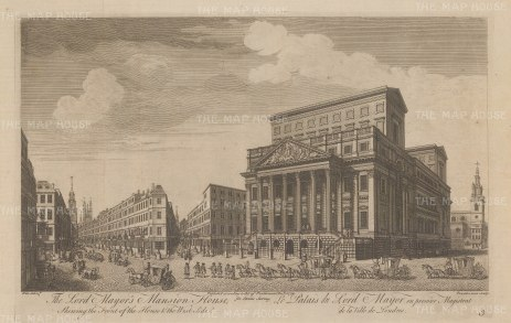 Mansion House: Elevation of the exterior and west side. With the Lord Mayor's entourage in the foreground.
