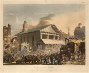 Westminster Election: Hustings outside St Paul's Covent Garden:The 1808 election saw Sir Francis Burdett put forward as a candidate without his knowledge and then pursued for electioneering costs.