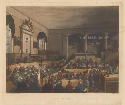 "Ackermann: Old Bailey. 1808. An original colour antique aquatint. 11"" x 9"". [LDNp8789]"