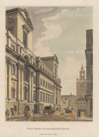 "Malton: Mansion House. 1798. A hand coloured original antique aquatint. 11"" x 14"". [LDNp9065]"