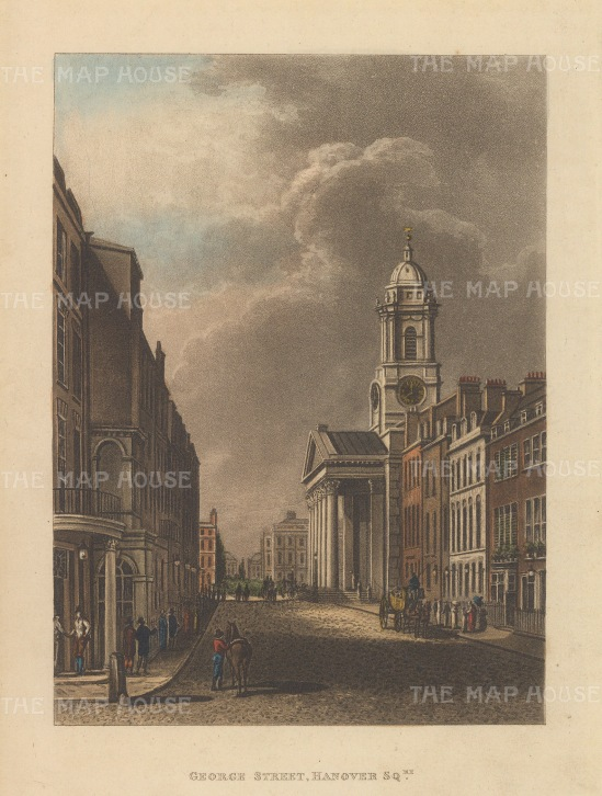 "Papworth: St. George Street, Hanover Square. 1816. An original colour antique aquatint. 6"" x 8"". [LDNp9204]"