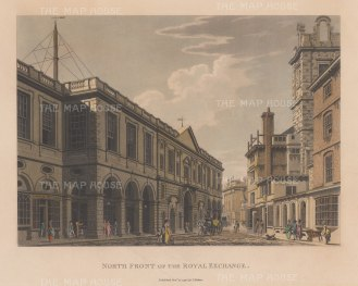 "Malton: Royal Exchange. 1800. A hand coloured original antique aquatint. 14"" x 11"". [LDNp9356]"