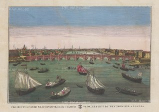 Perspective view over Westminster Bridge: Based upon an earlier Vue d'Optique. Looking northwards with Whitehall on the right and Lambeth on the left.