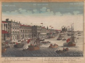 "Vue D'Optique: Custom House. c1780 An original hand coloured antique copper engraving. 17"" x 11"". [LDNp9552]"
