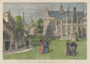 """Graphic Magazine: Middle Temple. 1890. A hand coloured original antique wood engraving. 19"""" x 14"""". [LDNp9579]"""
