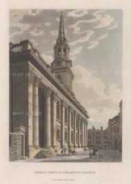 "Malton: St. Martin-in-the-Fields. 1800. A hand coloured original antique aquatint. 11"" x 14"". [LDNp9822]"