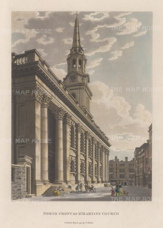 "Malton: St. Martin-in-the-Fields. 1800. A hand coloured original antique aquatint. 11"" x 14"". [LDNp9822]"