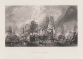 Battle of Trafalgar. The combined fleet at half-past two. HMS Victory disengaging from the Redoubtable, lashed alongside HMS Temiraire at the moment the Fougueux became prize of the latter. Left is HMS Royal Sovereign with her prize the Santa Anna demasted. Right the Bucentaure and the Santisima Trinidad.