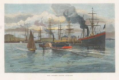 "Picturesque Australia: Auckland. c1880. A hand coloured original antique wood engraving. 11"" x 7"". [NWZp288]"