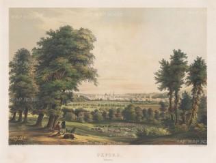 "Rundt: Oxford, Oxfordshire. 1850. A hand coloured original antique lithograph. 22"" x 17"". [OXONp527]"