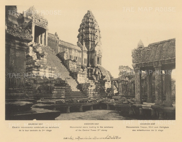 Angkor Wat: Central Tower and stairs leading to the Sanctuary. Published in Hanoi.Dieulefils worked for L'Ecole Francaise d'Extreme Orient and first exhibited his photographs at the l'Exposition universelle de Paris 1889.