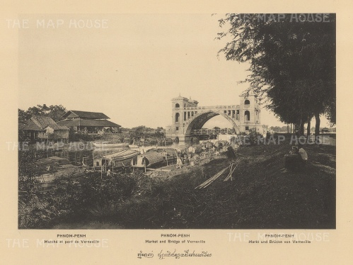 Phnom Penh: Verneville market and bridge. Published in Hanoi.Dieulefils, working for the Ecole Francaise d'Extreme Orient, first exhibited his photographs at the l'Exposition universelle de Paris 1889.