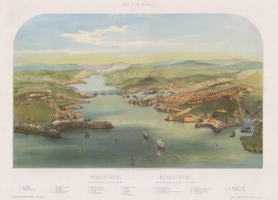 """Guesdon: Sebastopol. c1854. A hand coloured original antique lithograph. 25"""" x 18"""". [TKYp1008]"""