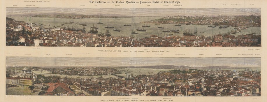 Double panorama of the city and the Golden Horn, looking towards and from Pera. With keys. The Conference of 1876 saw Britain and European countries address political reforms in Ottoman territories.