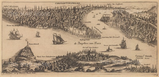 RARE Constantinople: Aerial plan of the Bosphorus Straits as seen during the Great Turkish War, a period in the late 17th century of continuous warfare between the Ottoman Empire and various European powers.