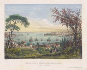 "Schranz: Istanbul. 1855. A hand coloured original antique lithograph. 17"" x 12"". [TKYp1187]"