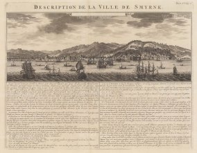 """Chatelain: Smyrna (Izmir). 1719. An original antique copper engraving. 20"""" x 15"""". [TKYp1248]"""