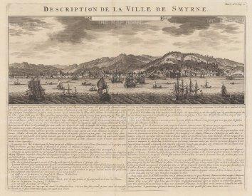 "Chatelain: Smyrna. 1719. An original antique copper engraving. 20"" x 15"". [TKYp1248]"