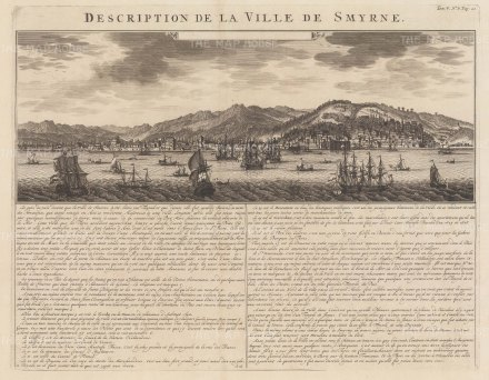 "Chatelain: Smyrna. 1719. An original antique copper engraving. 20"" x 15"". [TKYp1248]"