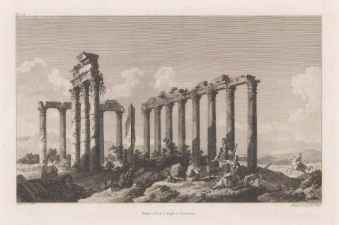 Ruins of the 2nd-century Corinthian order Temple of Zeus Lepsynus.